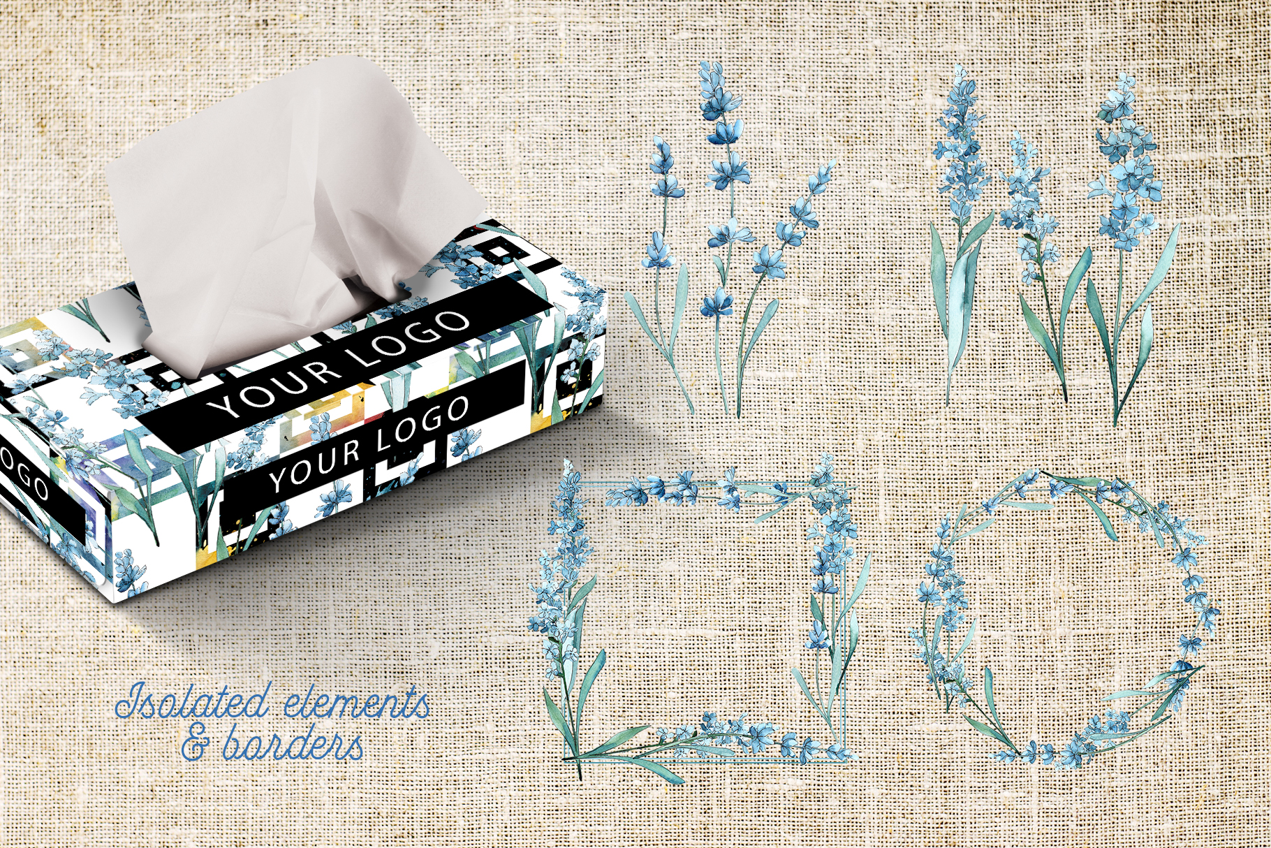 Scented lavender PNG watercolor flower set example image 6