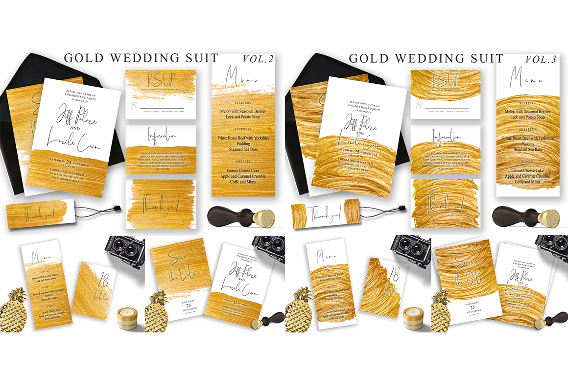 Watercolor Wedding Invitations Suits. GIANT BUNDLE example image 5