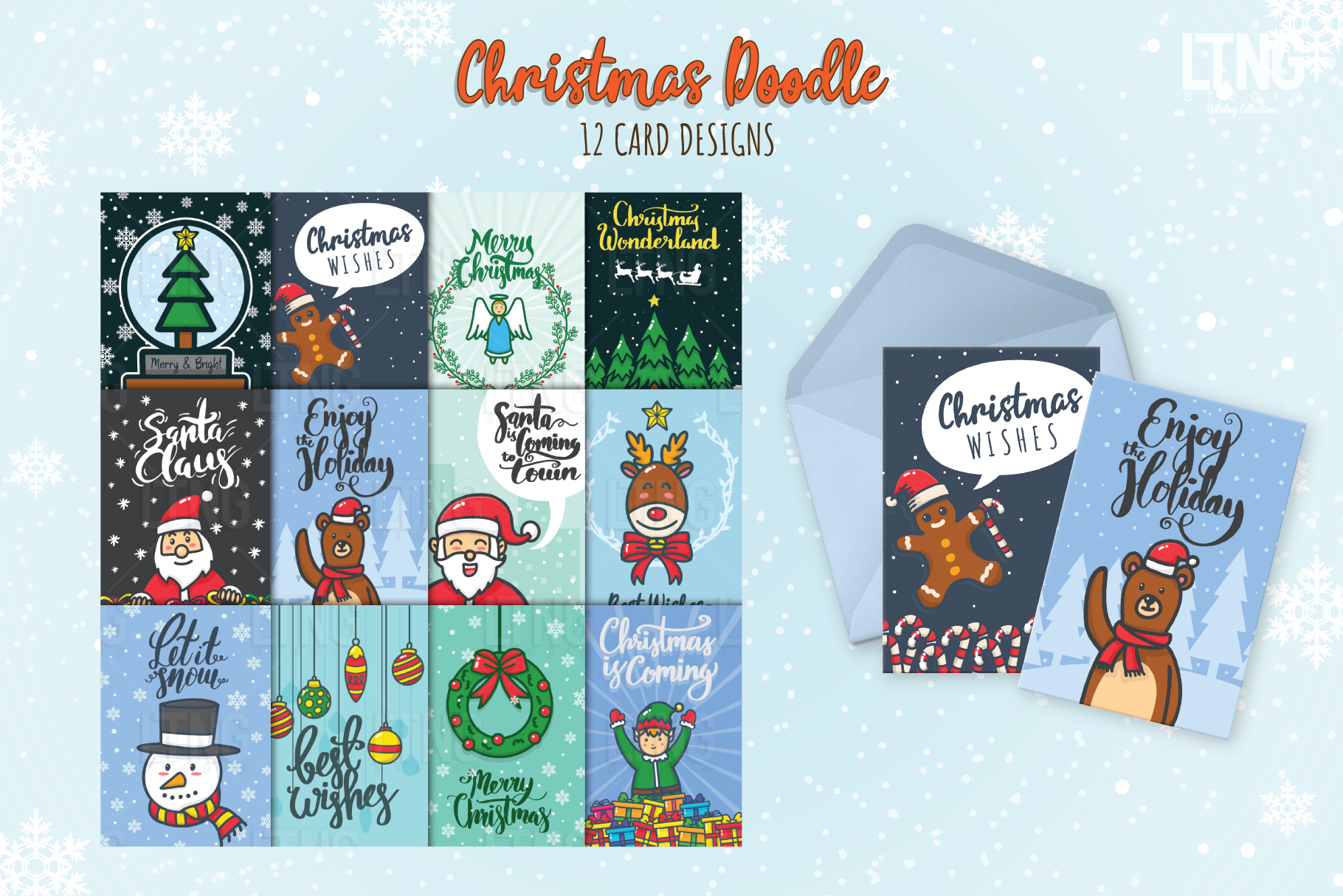 Christmas Doodle Graphic Element Part 1 example image 4