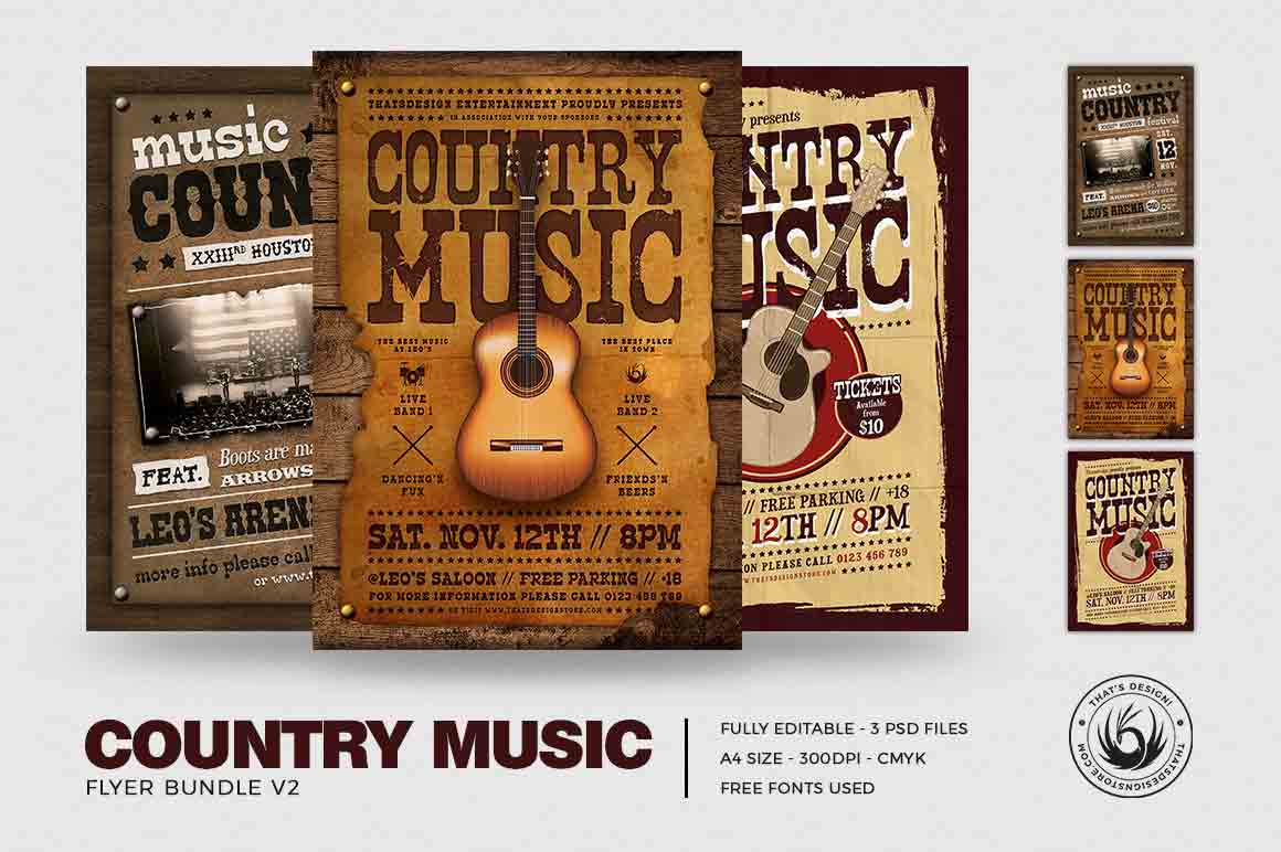 Country Music Flyer Bundle V2 example image 2