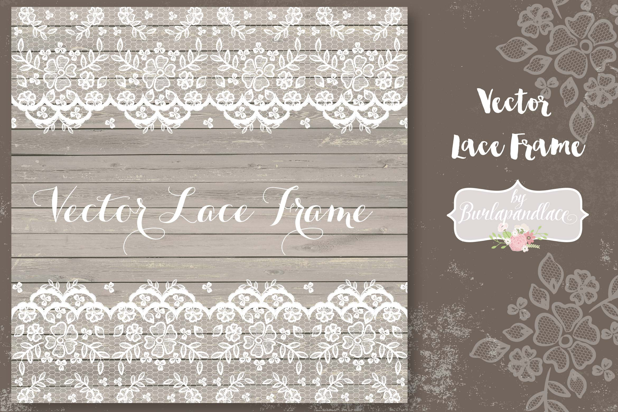 Vector lace frame wedding example image 1