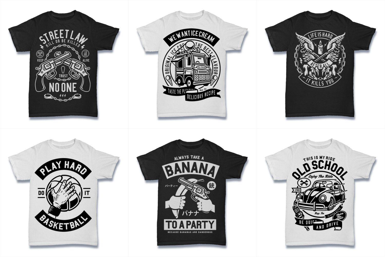 100  Vector Tshirt Designs ( B/W Concept ) example image 6