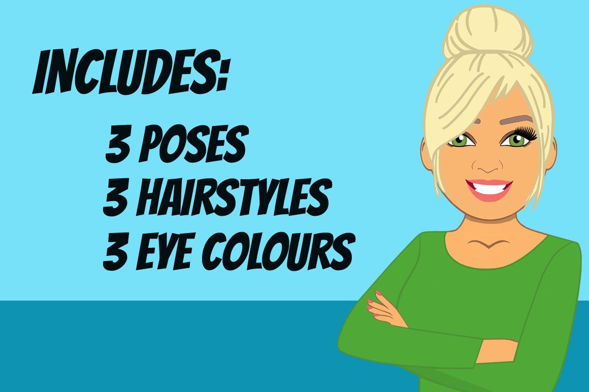 Blonde Woman Clip Art Bundle | Female Avatar | Graphic example image 2