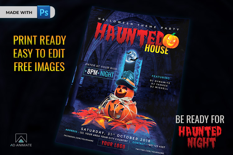 Haunted House Party Flyer template for Halloween example image 2