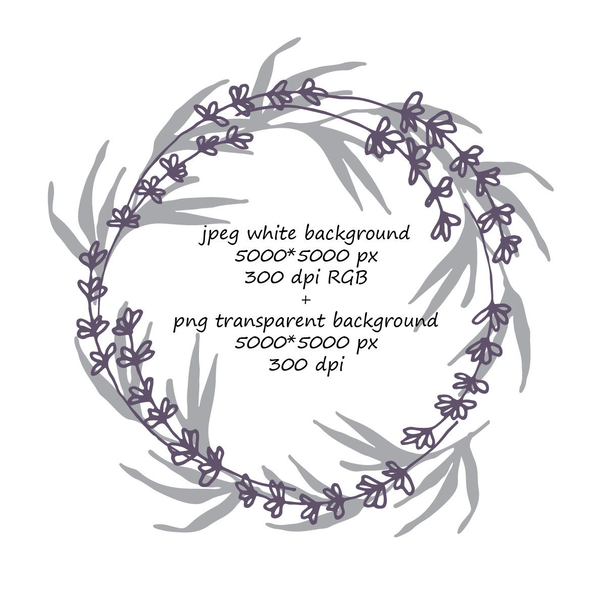 8 Lavender and Leaves Wreaths  example image 2