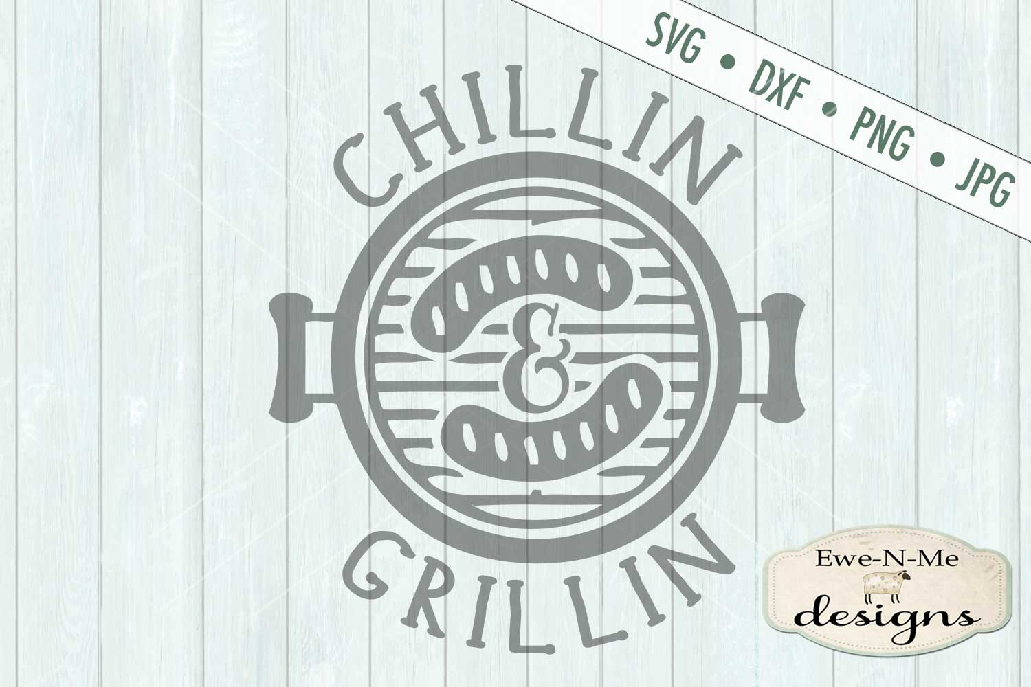 Chillin Grillin Father's Day SVG DXF Cut File example image 2