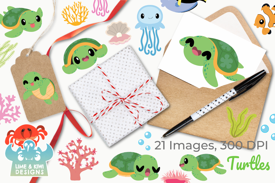 Turtles Clipart, Instant Download Vector Art, Commercial Use example image 4