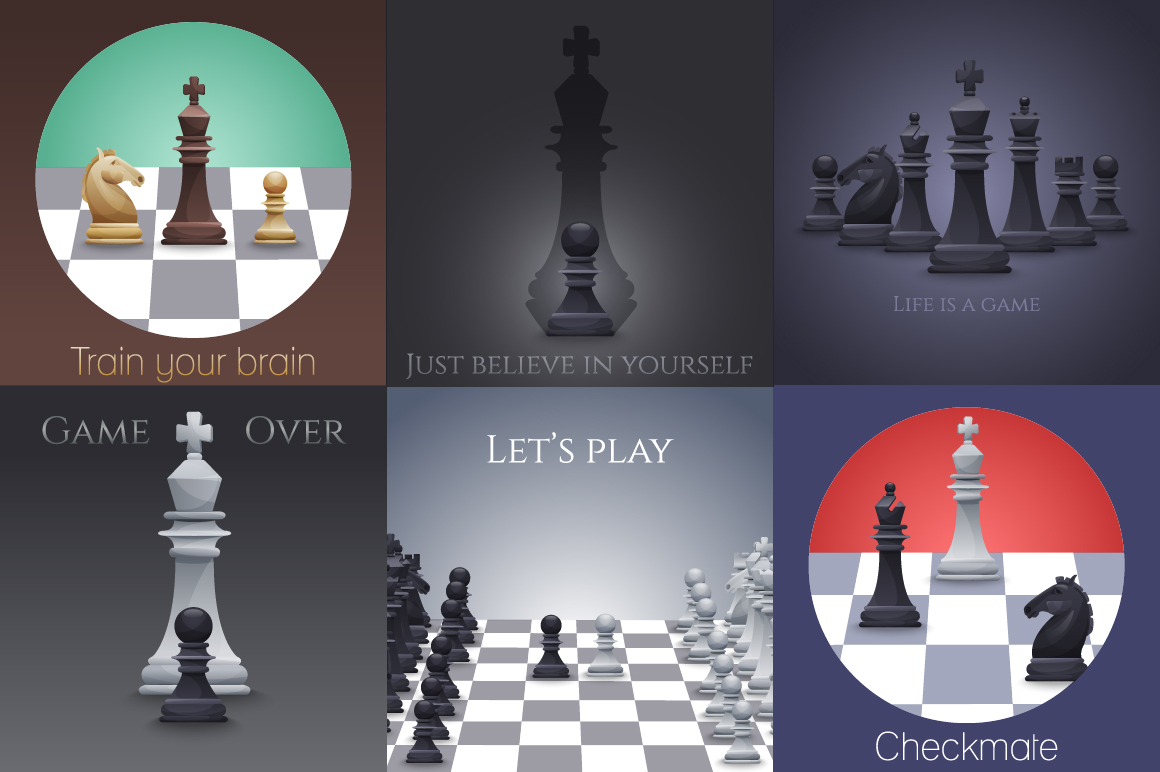 Vector Chess set: 4 sets pieces in 2 slyles, 6 posters, 2 pattern, chessboard example image 2