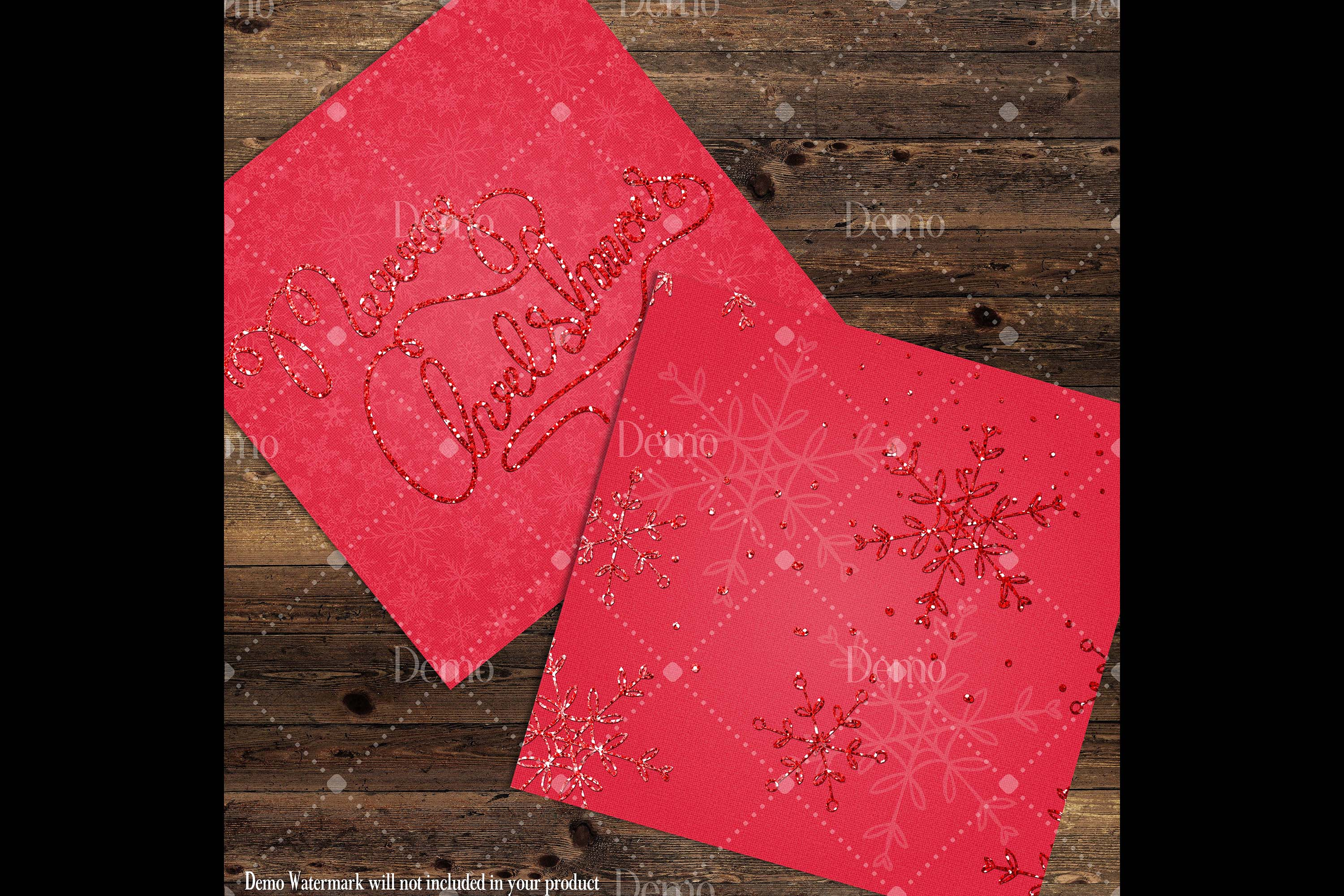 16 Red Glitter Christmas Printable Digital Papers 12 x 12 in example image 8