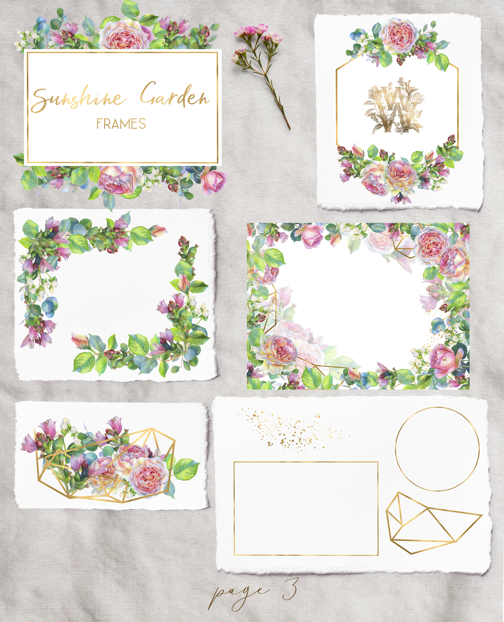 Pink rose watercolor wedding clip art, floral frame clipart example image 4