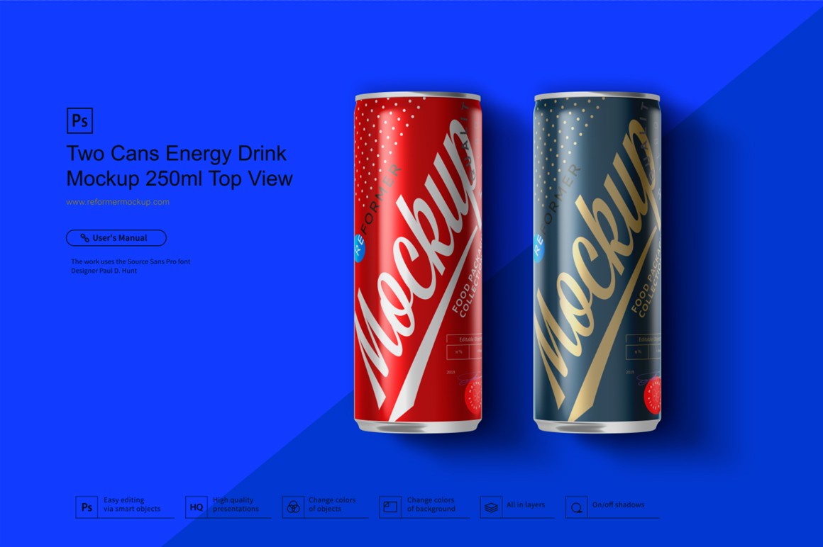 Two Cans Energy Drink Mockup 250ml Top View example image 1