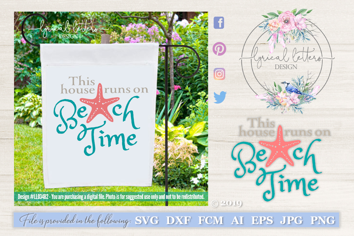 This House Runs On Beach Time SVG DXF LL034B2 example image 1
