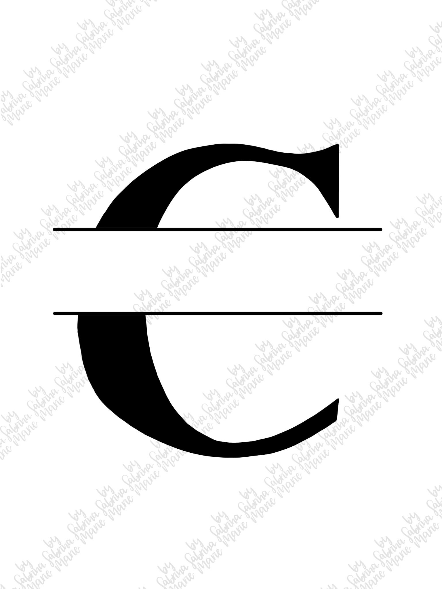 Split Monogram C - Handdrawn - SVG/PNG example image 2