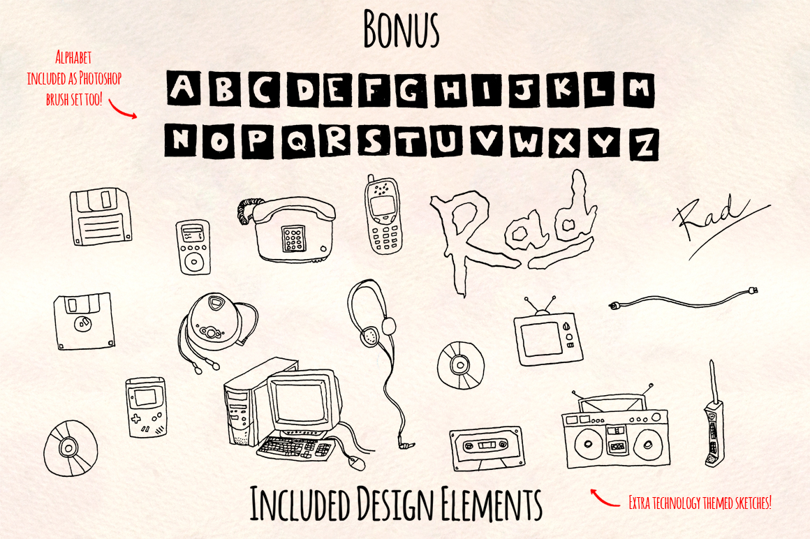 Super Rad 1990's Style Vector Sketch Pattern Kit example image 2