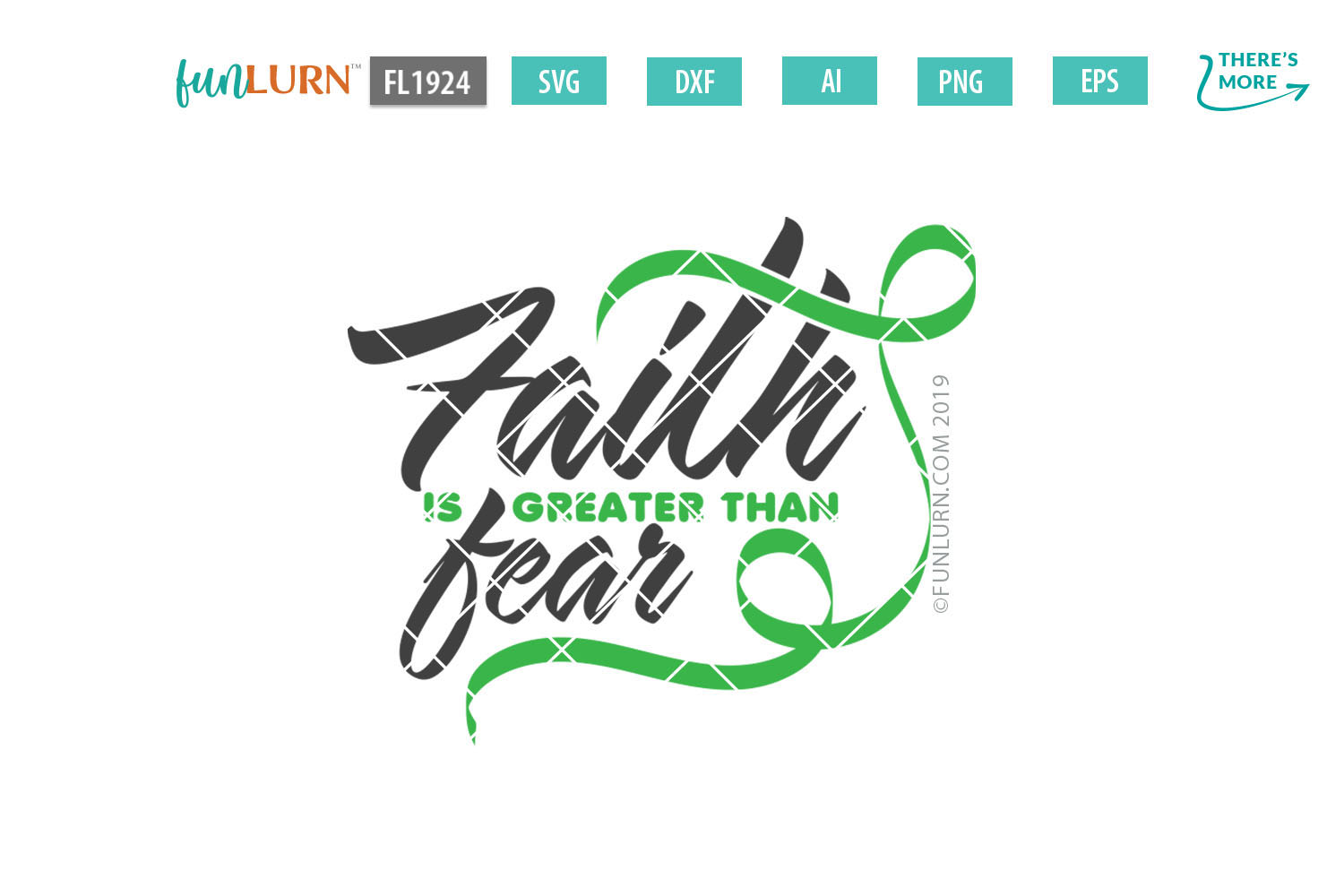 Faith is Greater Than Fear Light Green Ribbon SVG Cut File example image 2