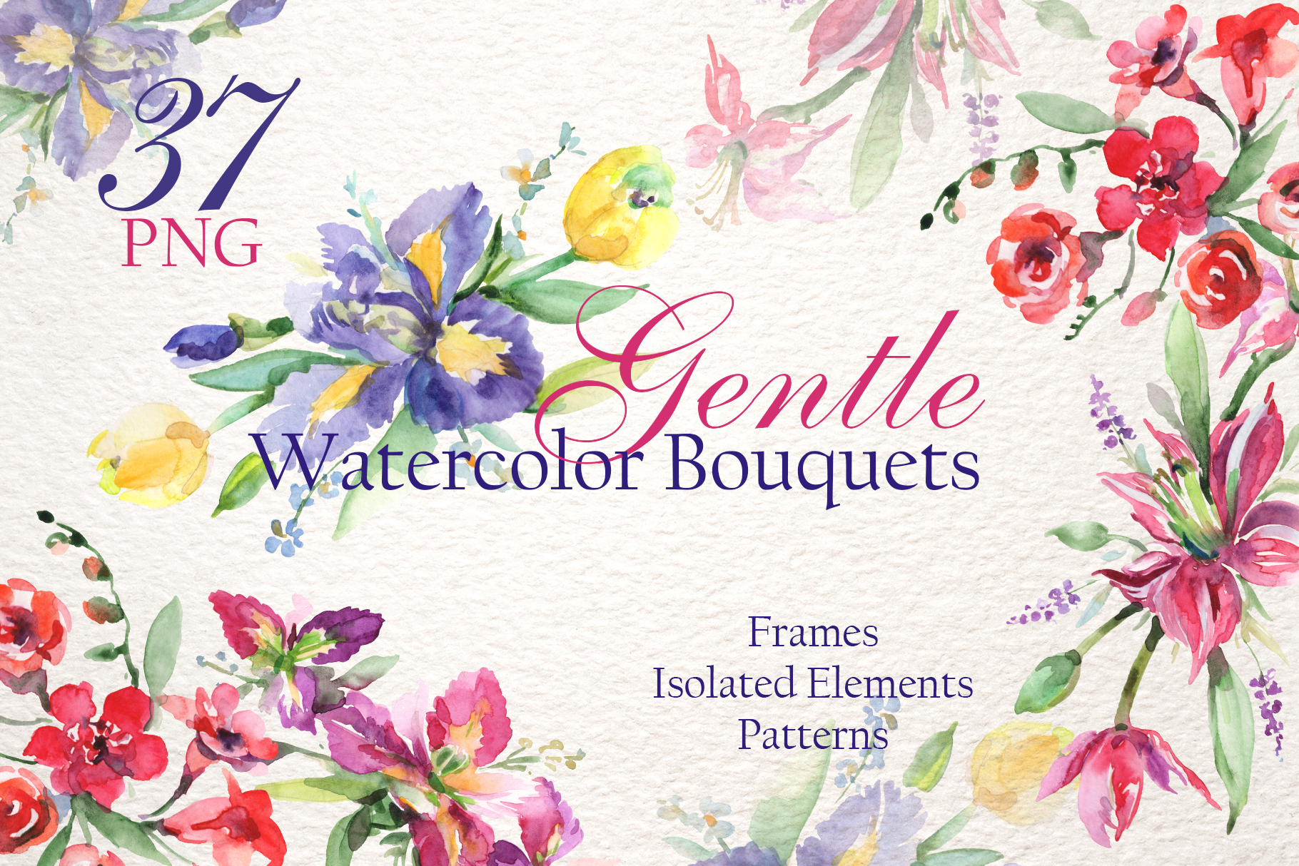 Gentle Bouquets Watercolor png example image 1