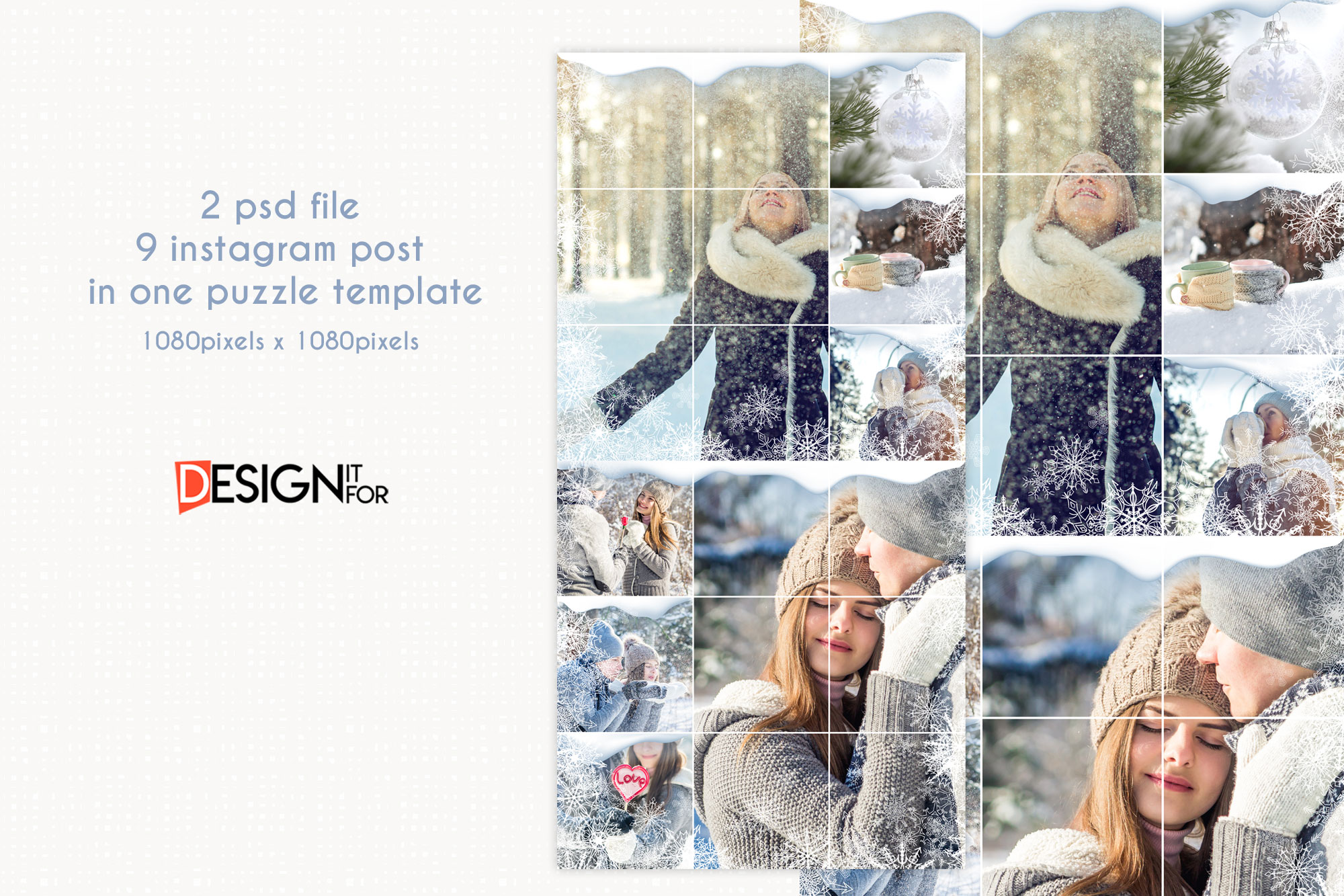 Winter Instagram Puzzle Template, Post Template example image 2