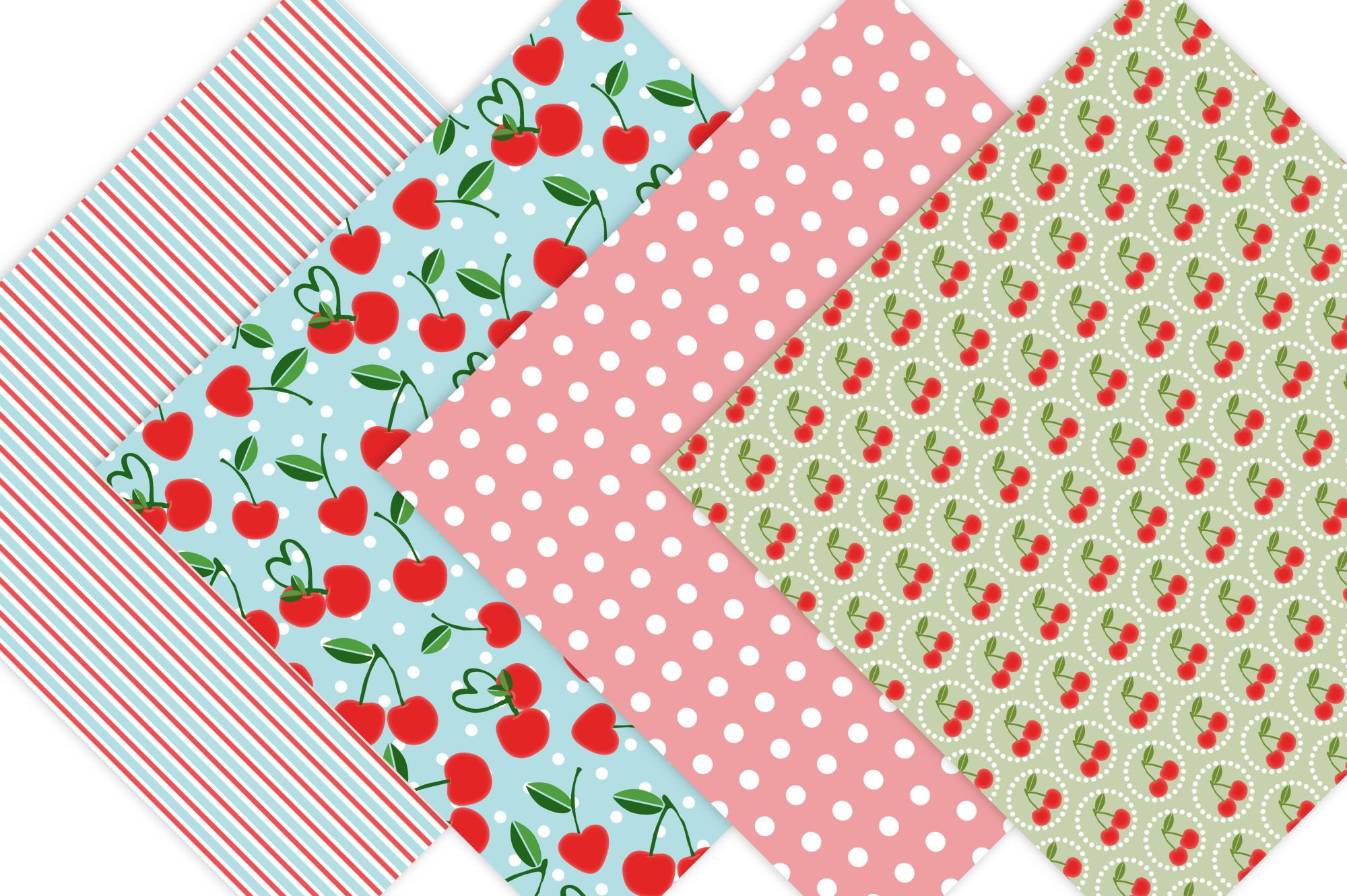 Cherry Digital Paper - Cottage Chic example image 2
