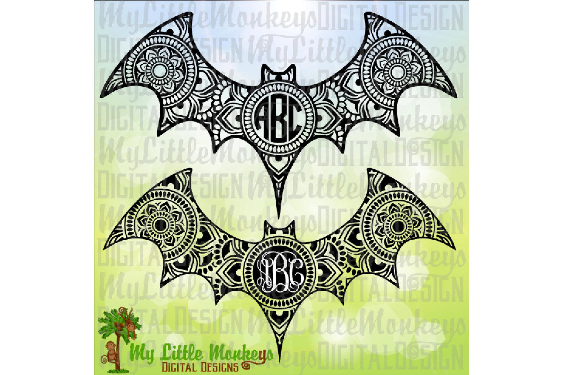 Bat Mandala Monogramm Base example image 1
