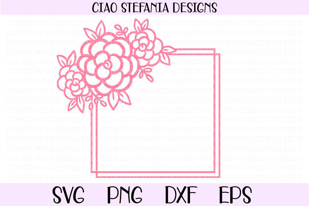Flower Geometric Square Frame Wedding SVG PNG DXF EPS Cut Fi example image 1