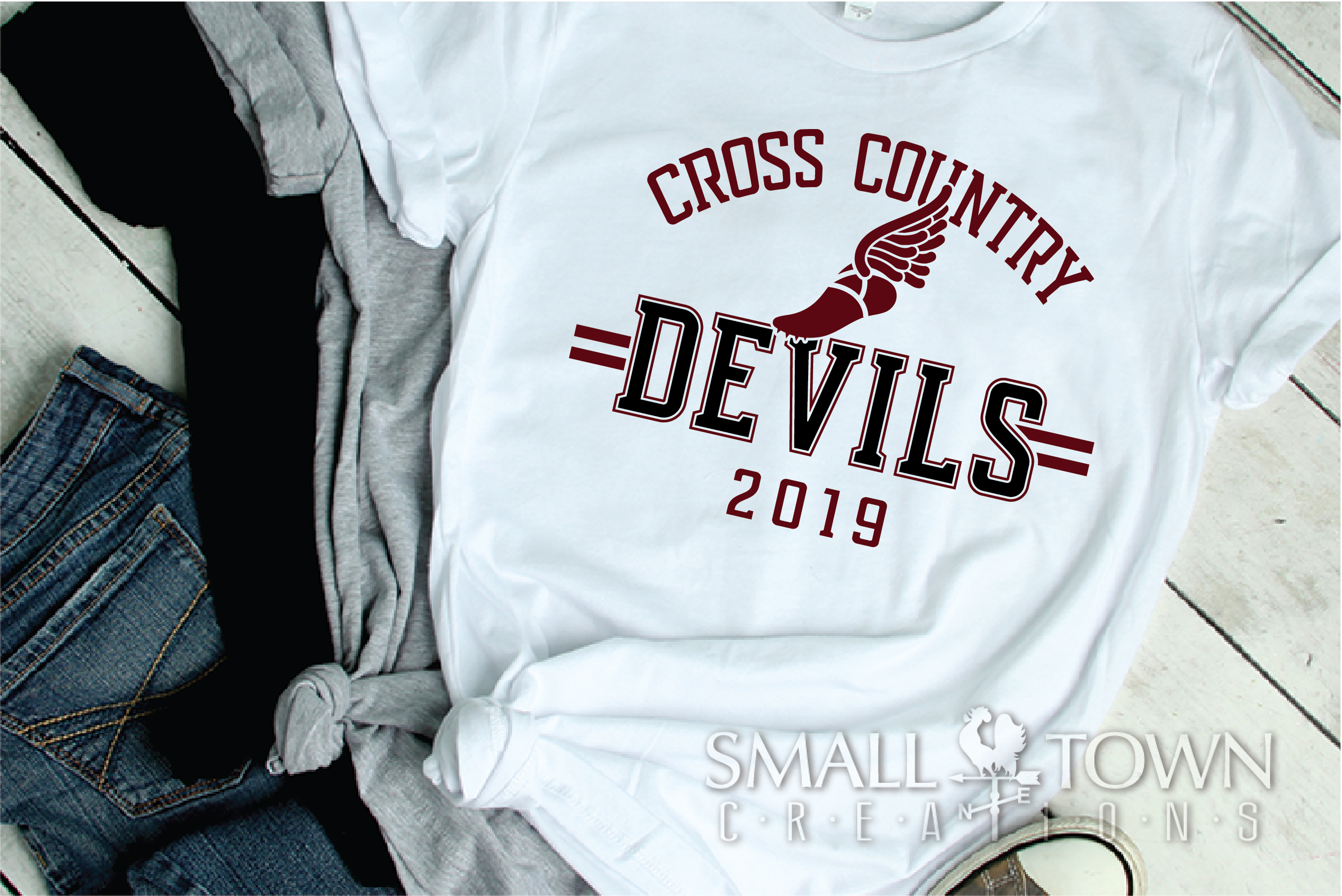 Devil Cross Country, Sports, Logo, PRINT, CUT & DESIGN example image 2