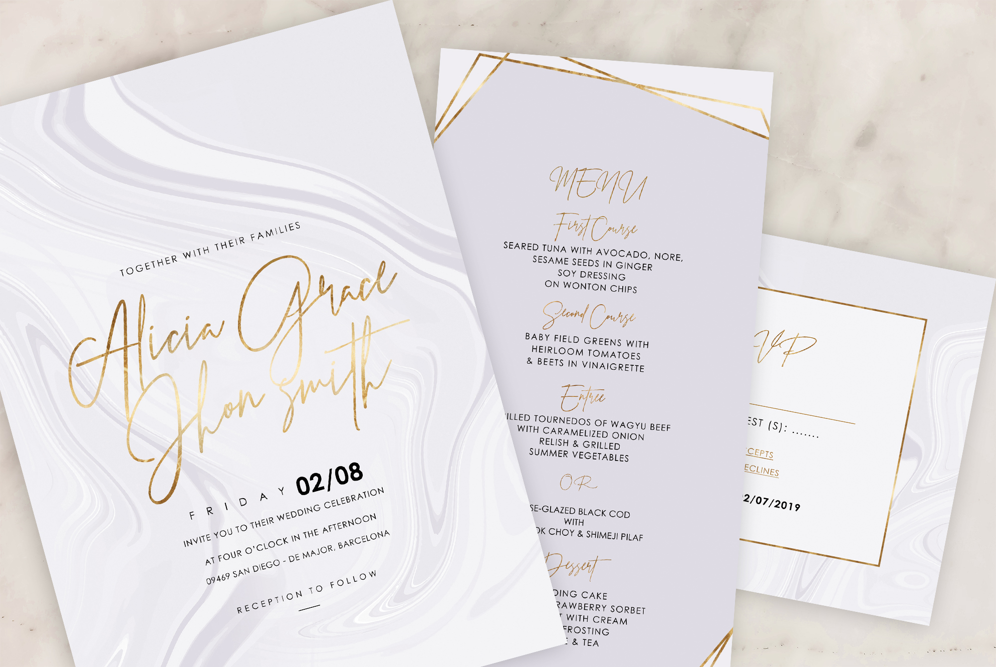 Marble Wedding Invitation - 6 Collections example image 11