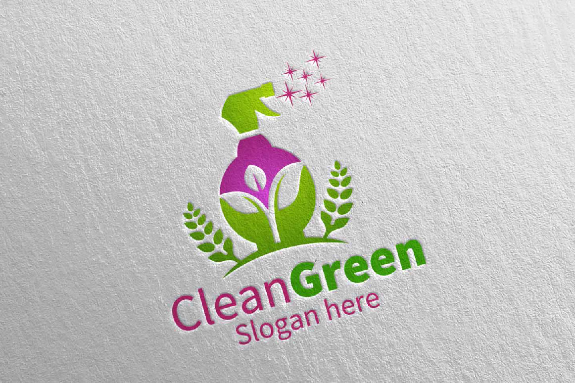Cleaning Service Logo Eco Friendly example image 4