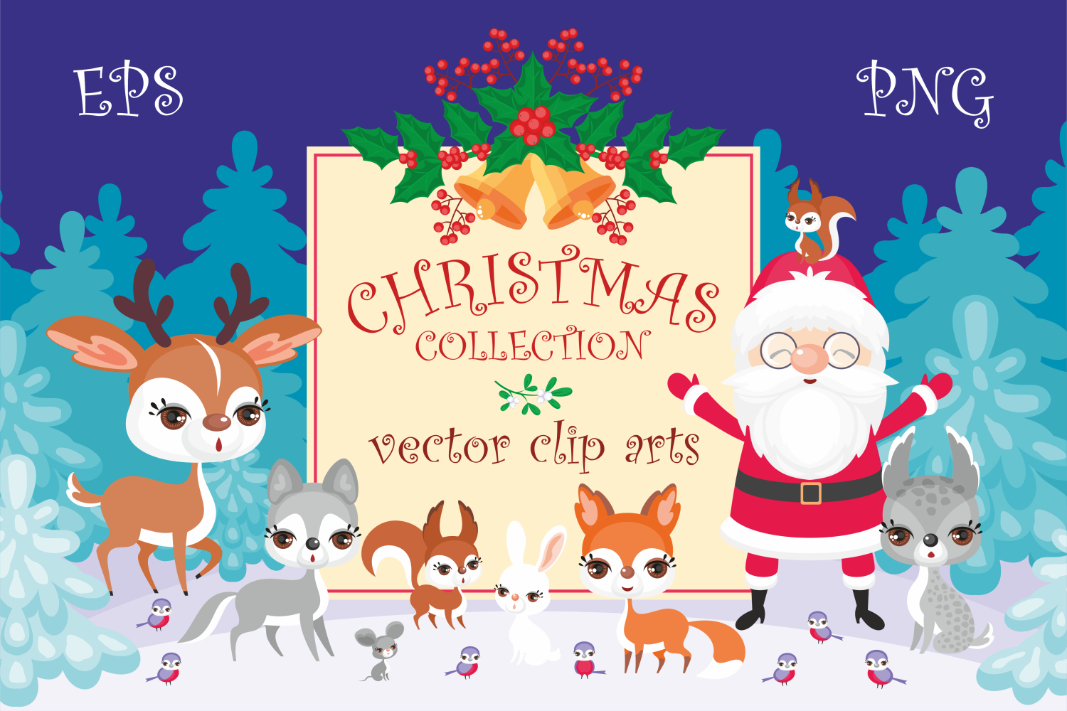 Christmas bundle. Vector cliparts and seamless patterns example image 3