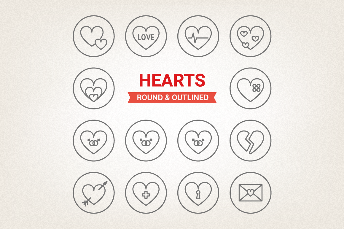 Circle Hearts Icons example image 1