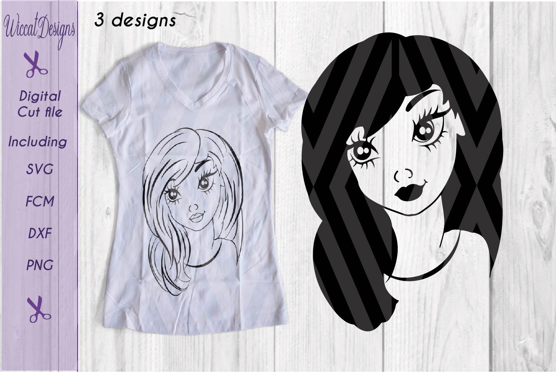 Girl svg, Girl face svg, Line art girl svg, teen svg, example image 1