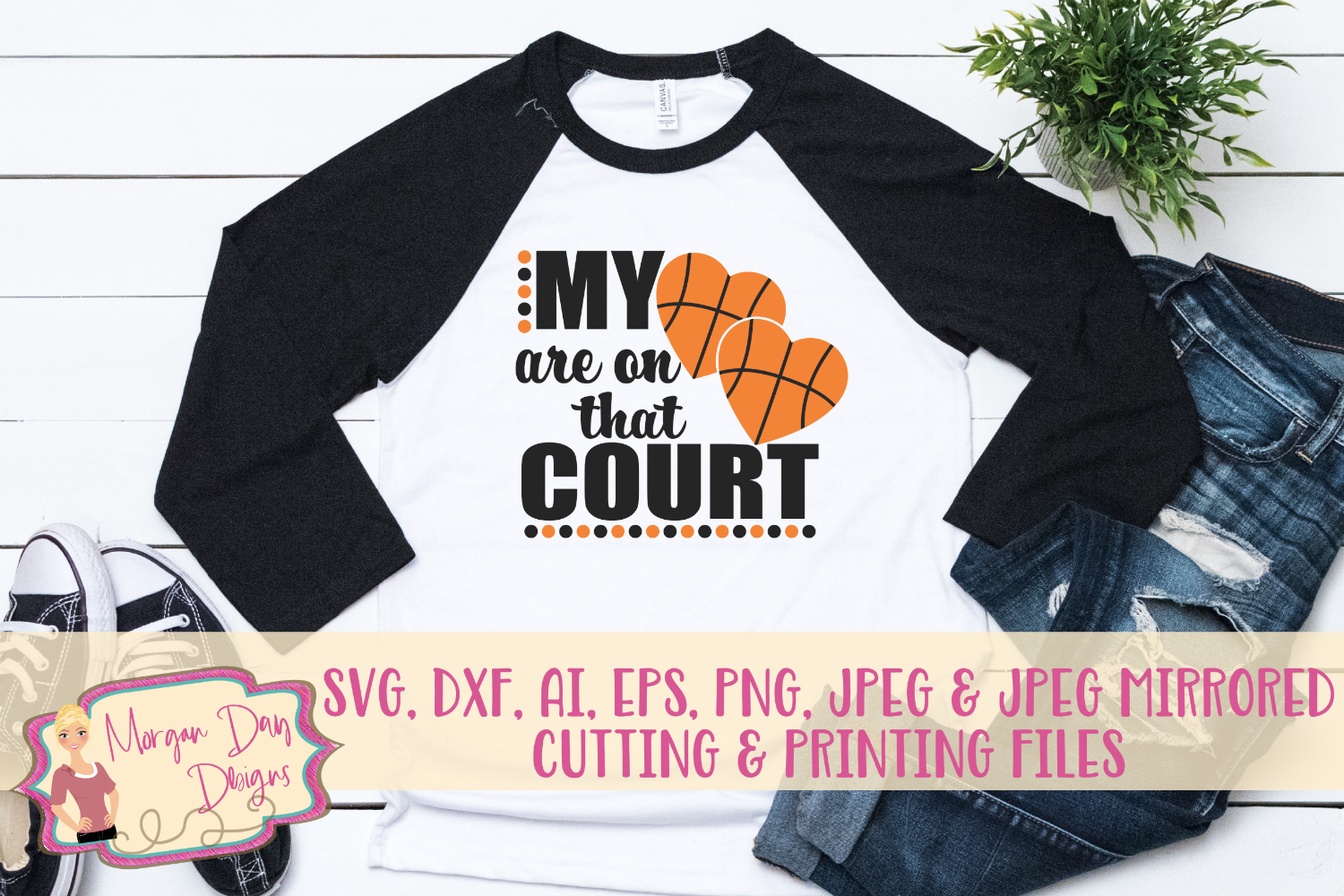 My Hearts Are On That Court SVG, DXF, AI, EPS, PNG, JPEG example image 1