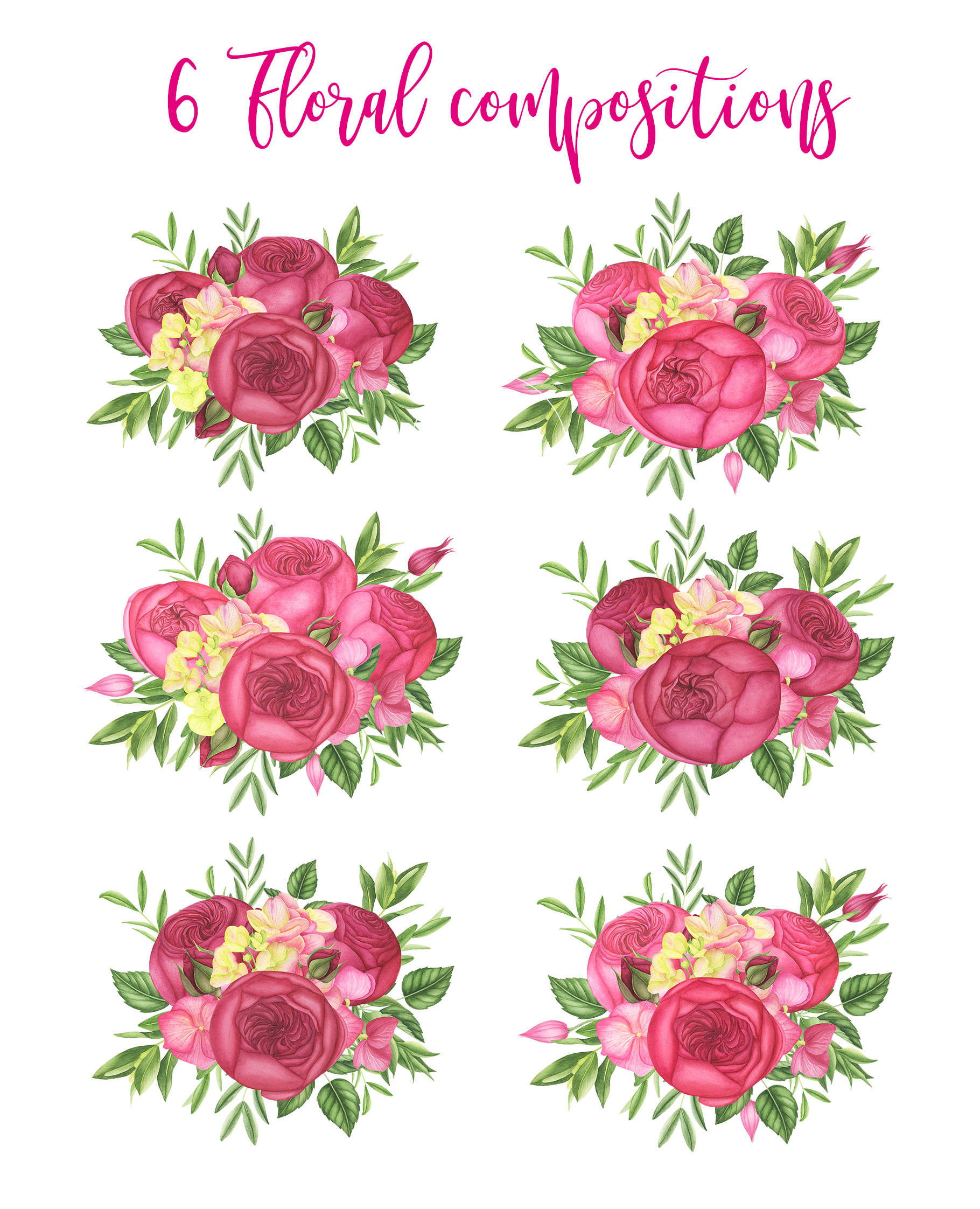 Watercolor Summer flowers clipart example image 4