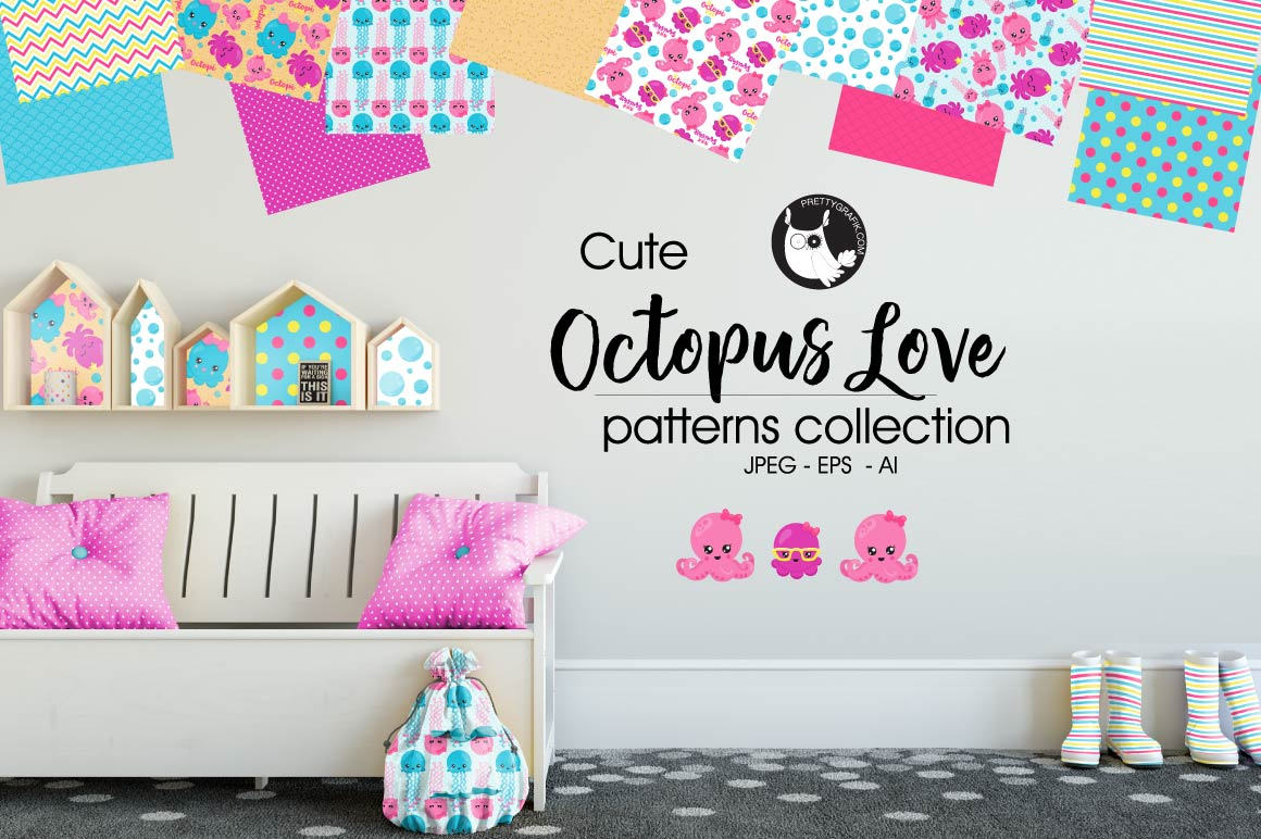 OCTOPUS-LOVE , digital papers example image 1