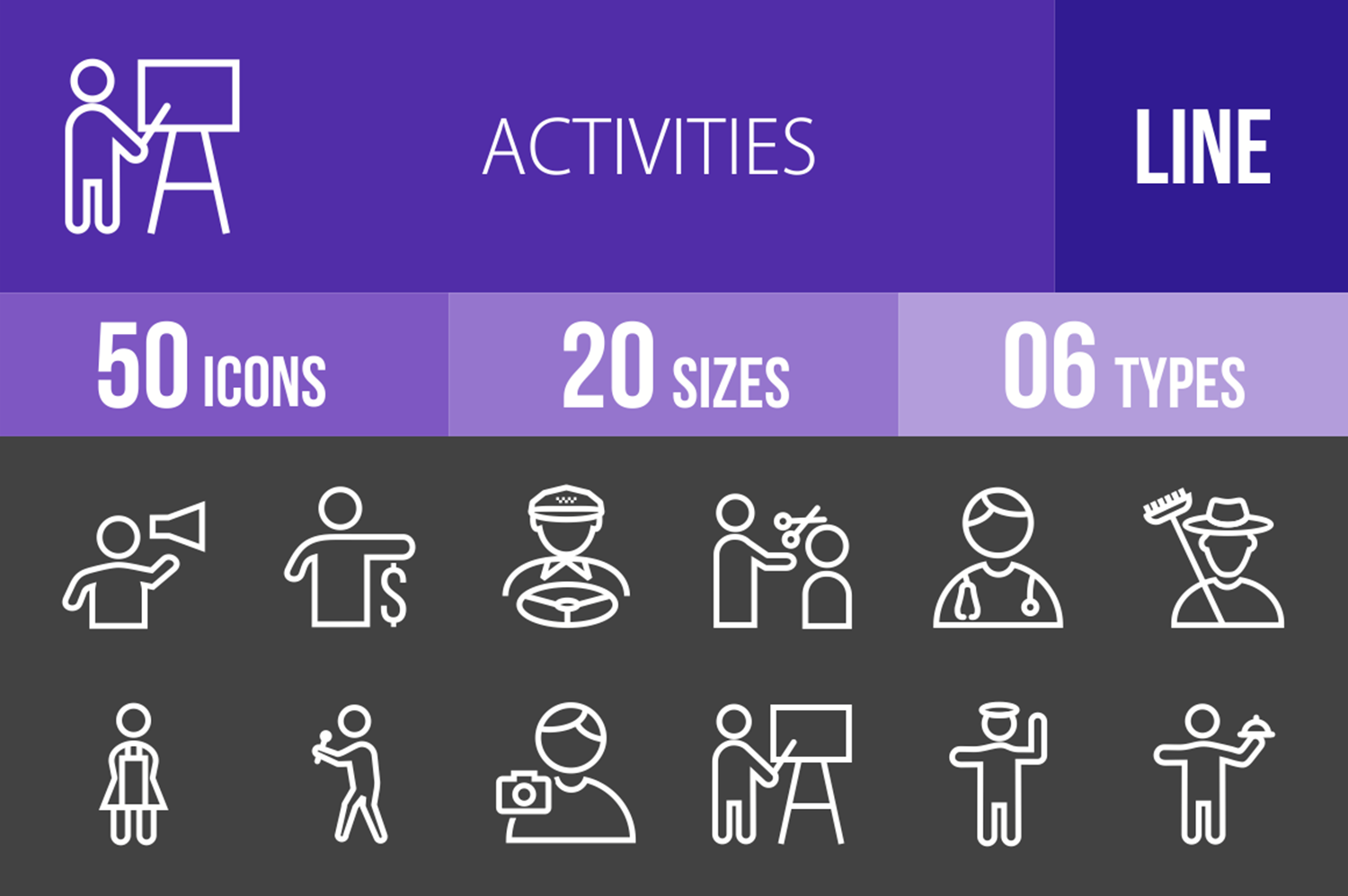 50 Activities Line Inverted Icons example image 1