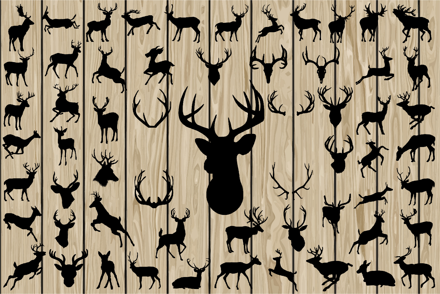 60 Deer SVG, Deer EPS, Deer Vector, Deer Silhouette Clipart, Deer DXF, Deer Png, Antler svg, Antler vector, Antler dxf, Antler eps, Horn Svg example image 1