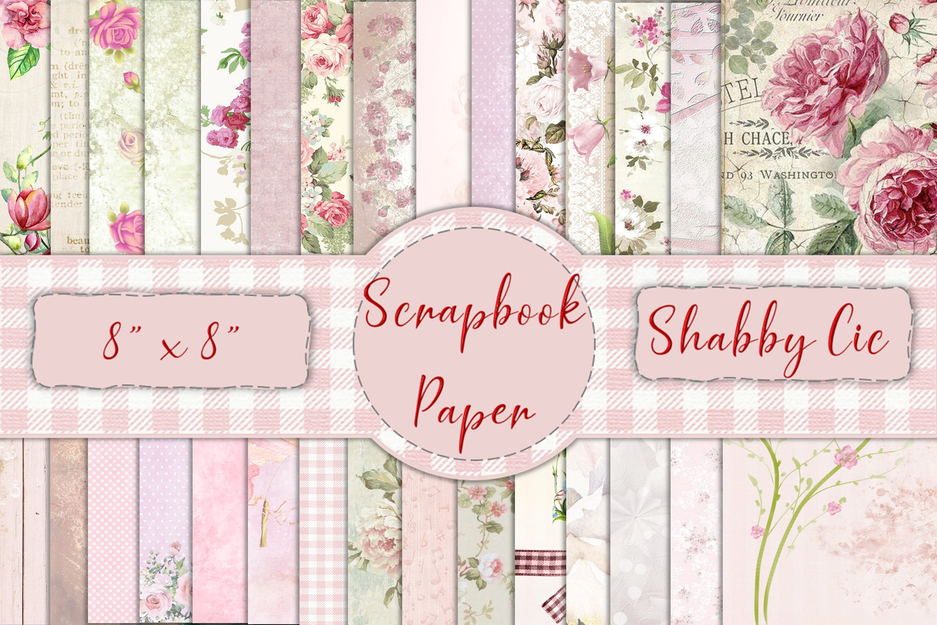 """30 Scrapbook Papers. Pink, Shabby Chic 8"""" x 8"""" JPEG & PDF example image 1"""