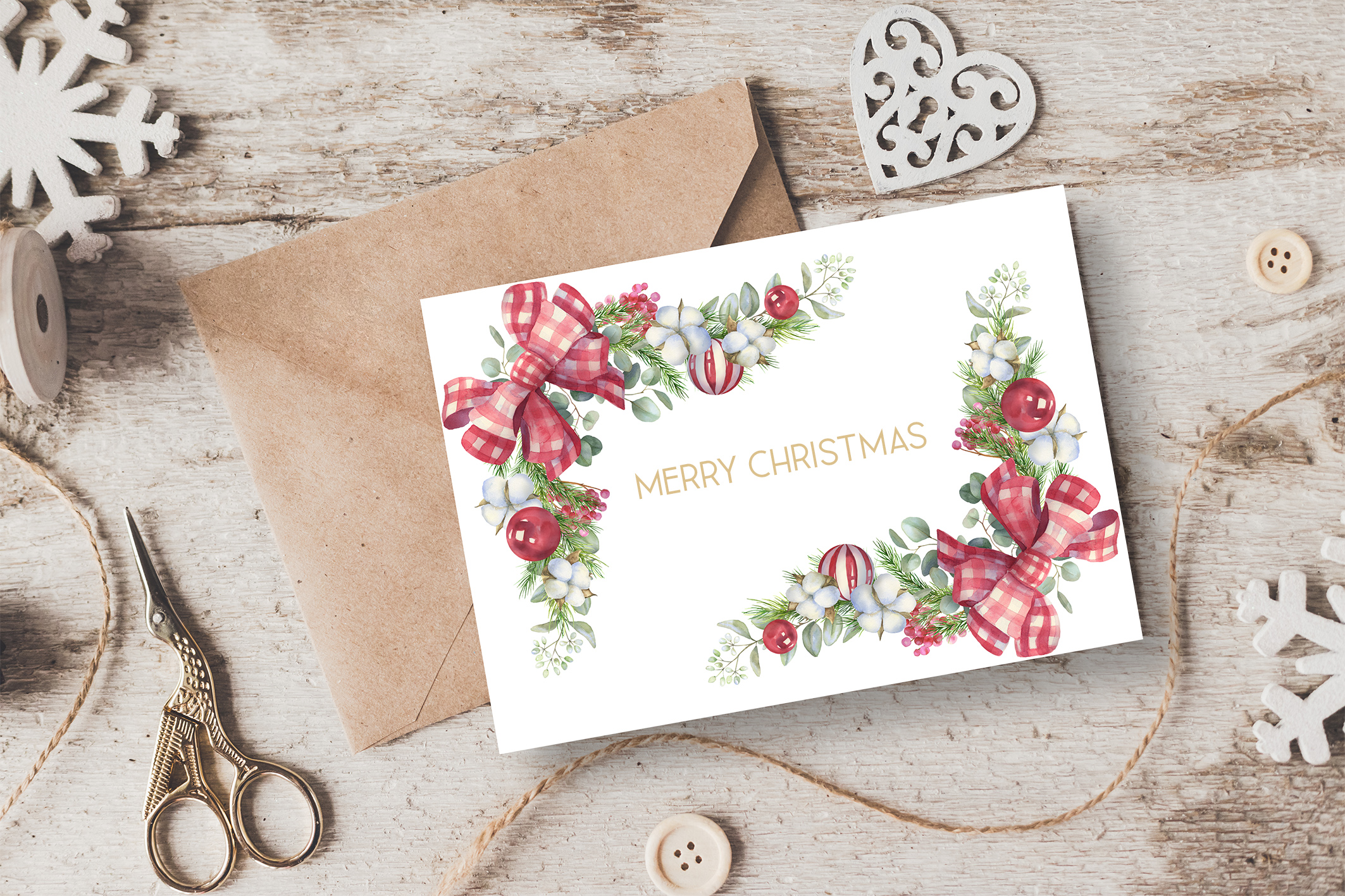 Christmas Watercolor Floral bouquets clipart, Winter wedding example image 10