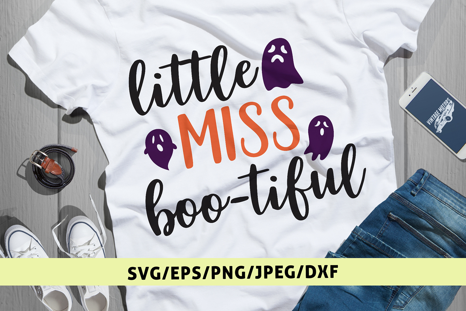 Little Miss Boo-tiful - Halloween SVG EPS DXF PNG Cut File example image 1