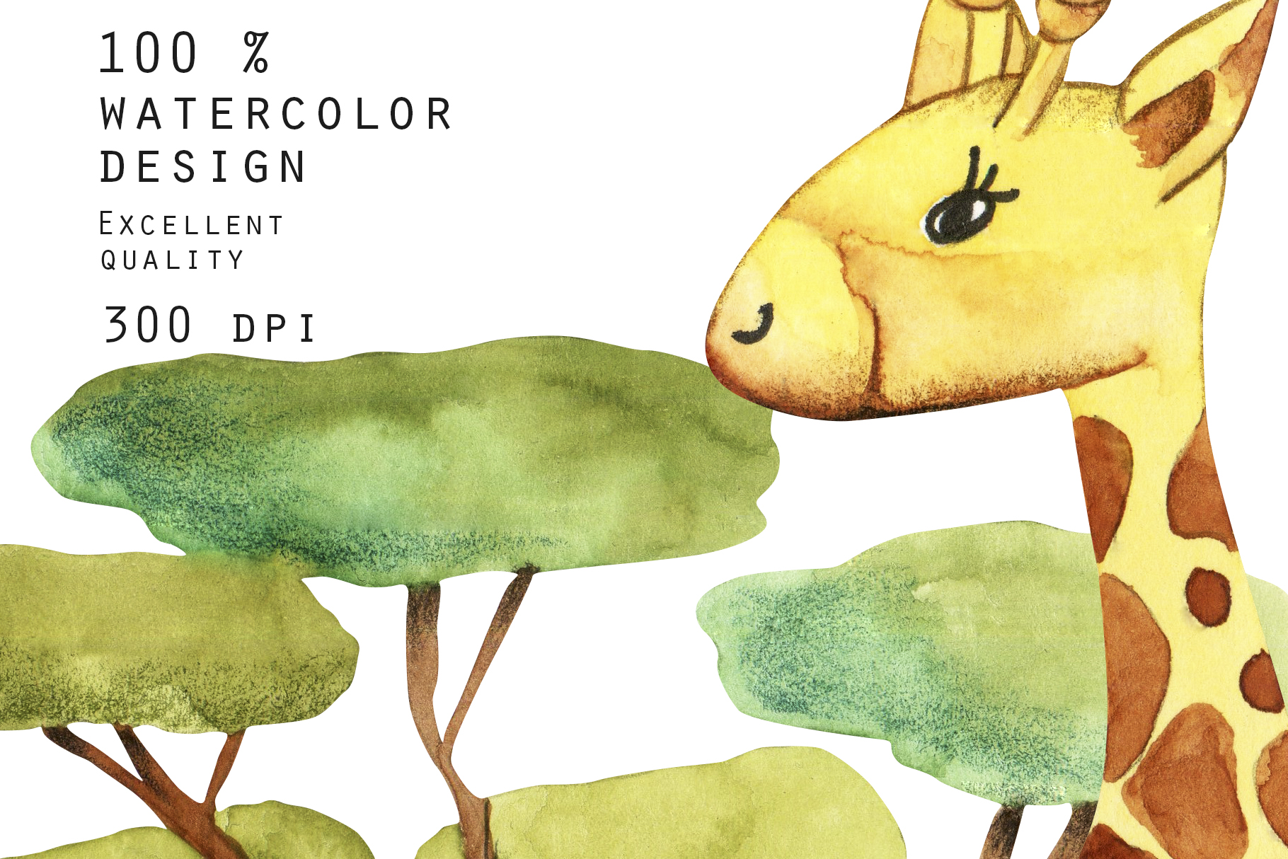 Giraffes. Watercolor clipart. example image 7