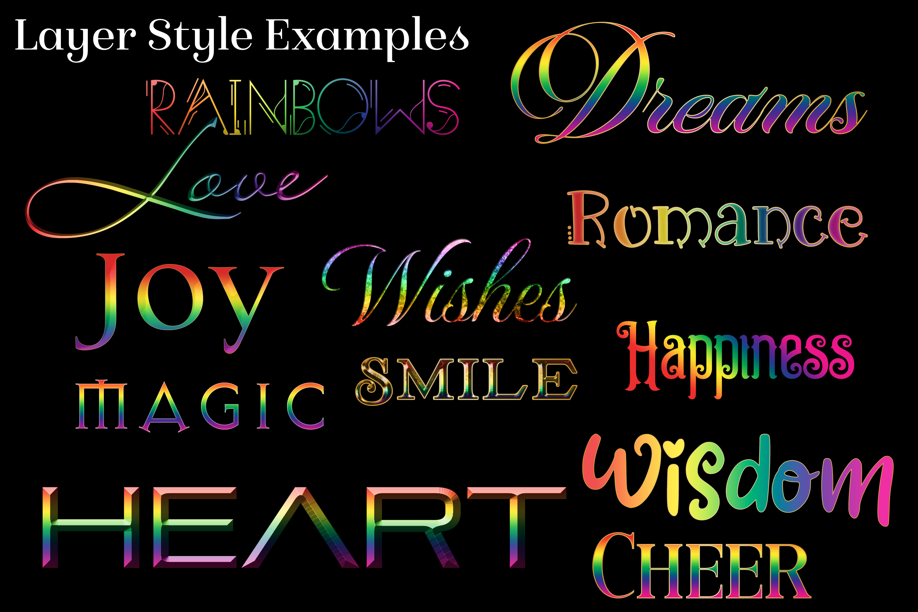 Rainbow Layer Styles - Set of 30 Styles for Photoshop example image 2