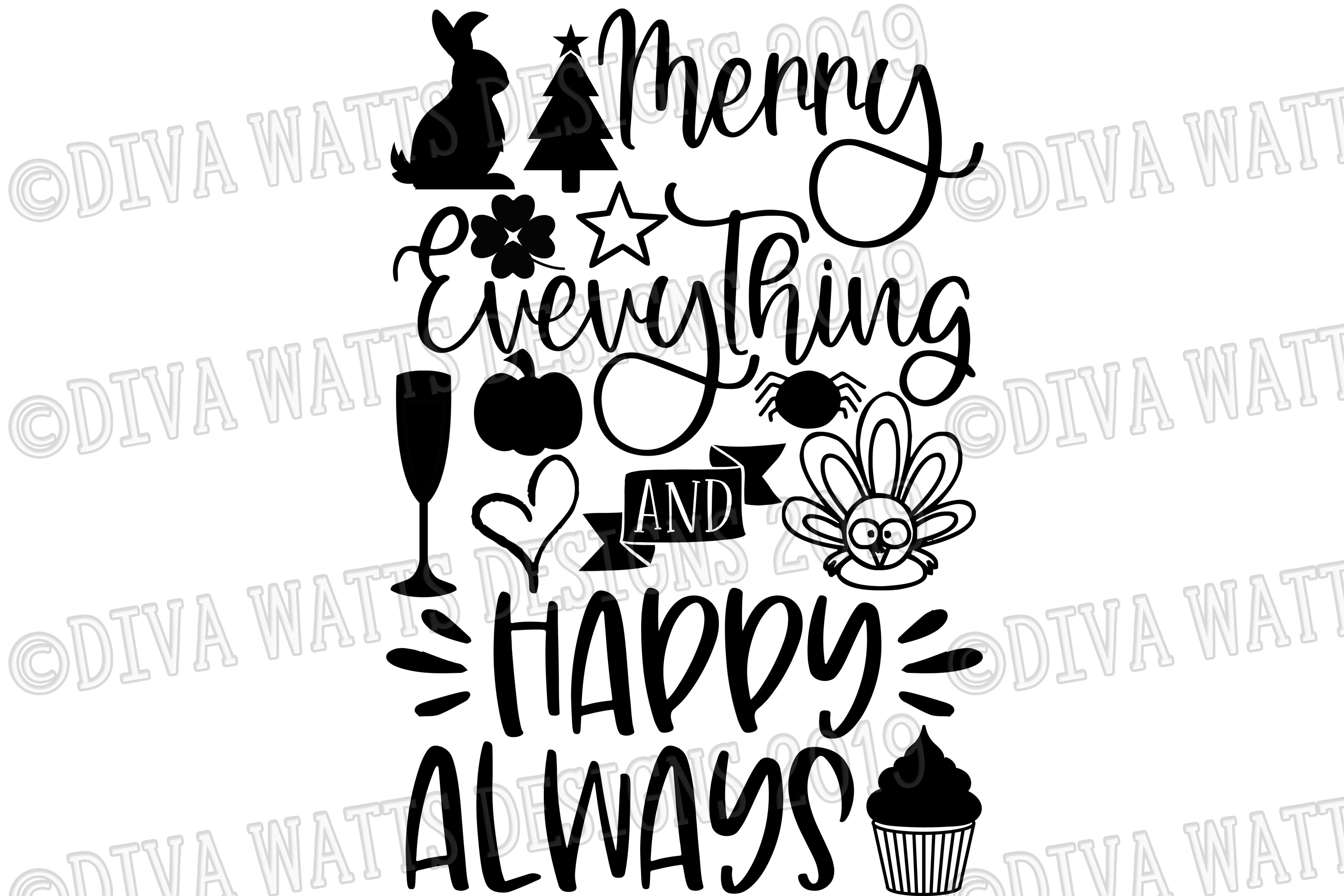 Merry Everything and Happy Always Cutting File for Holidays example image 2