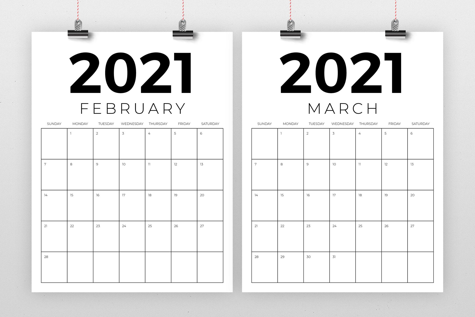 Vertical 8.5 x 11 Inch 2021 Calendar example image 2