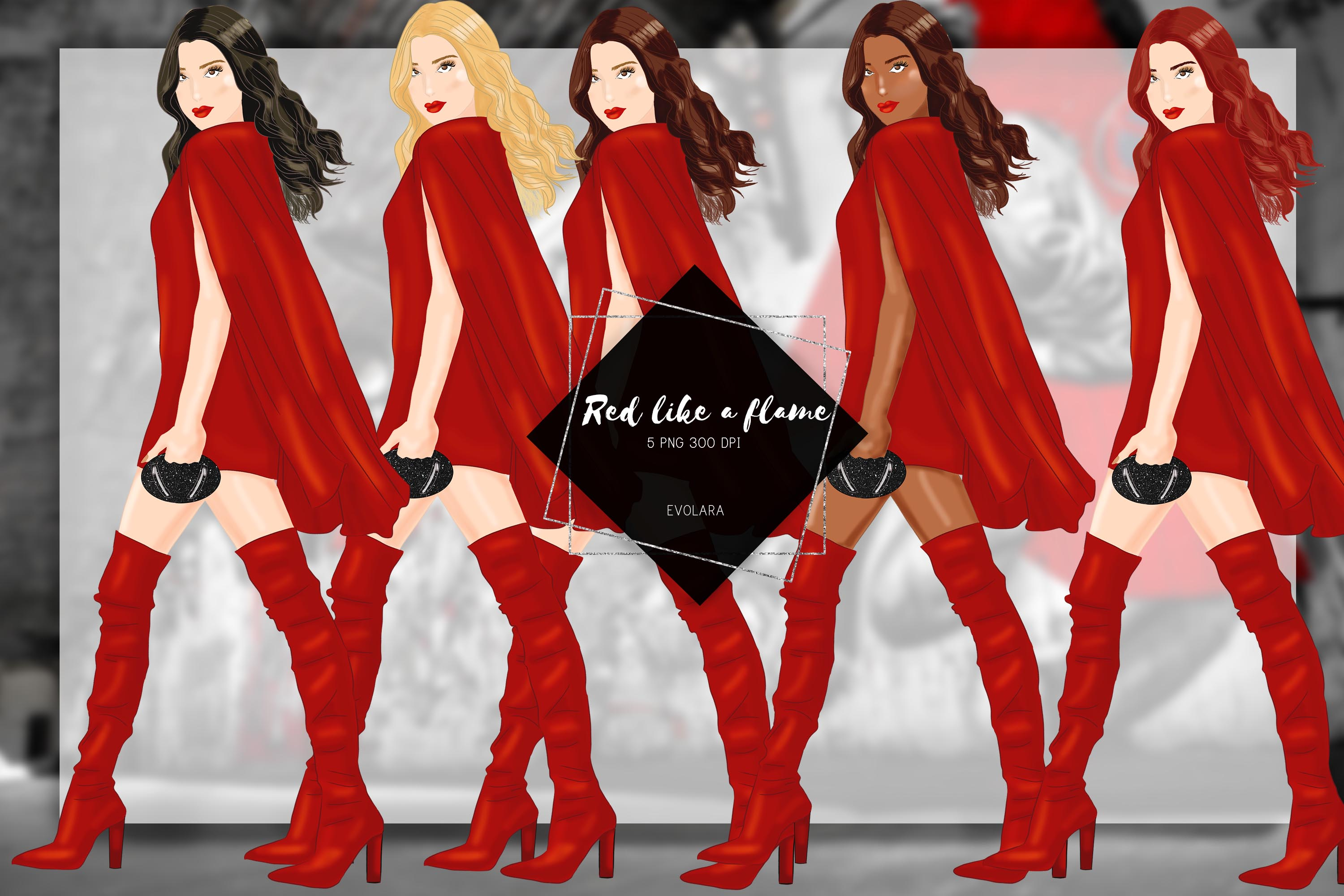 Fashion Girl Clipart Heels Clipart Red Fashion Illustrations example image 1