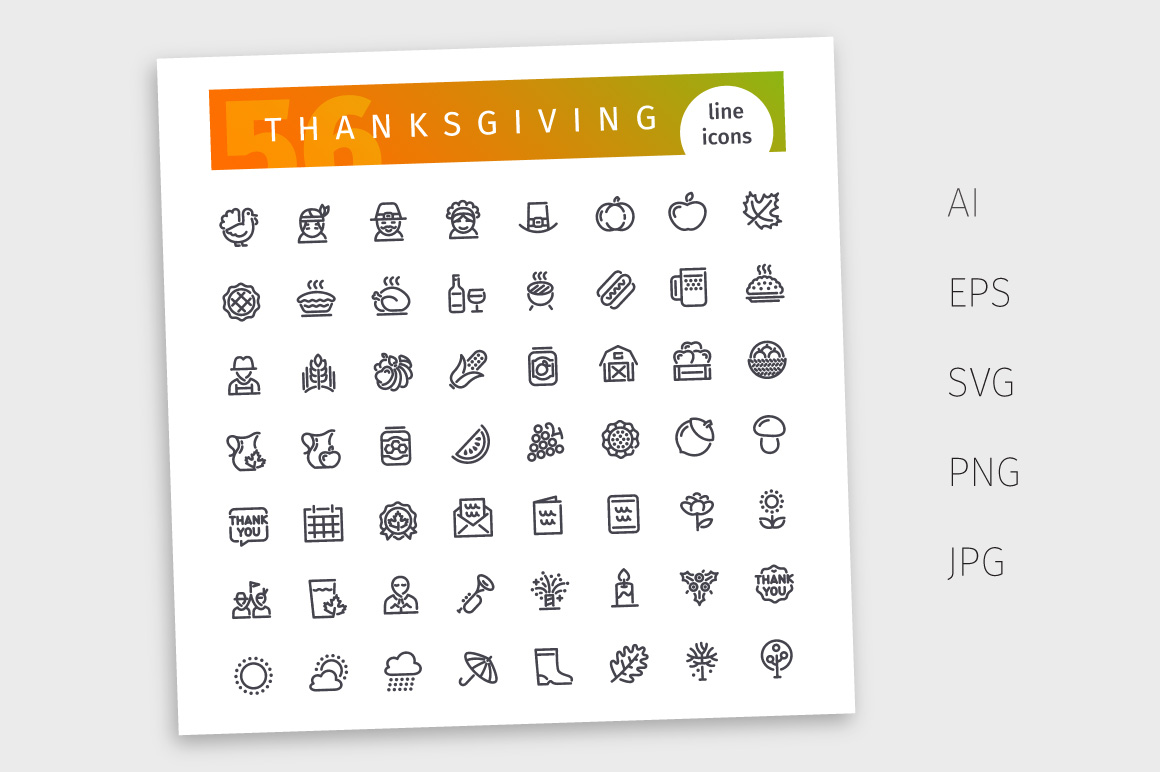 Thanksgiving Line Icons Set example image 4