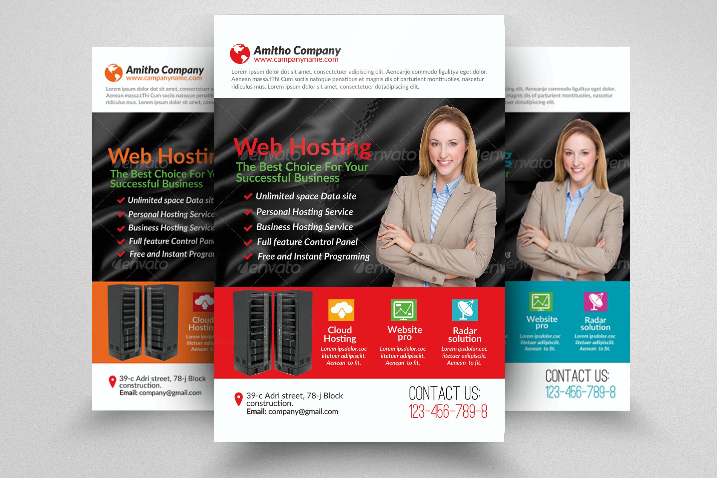 6 Web Hosting Business Flyers Bundle example image 6