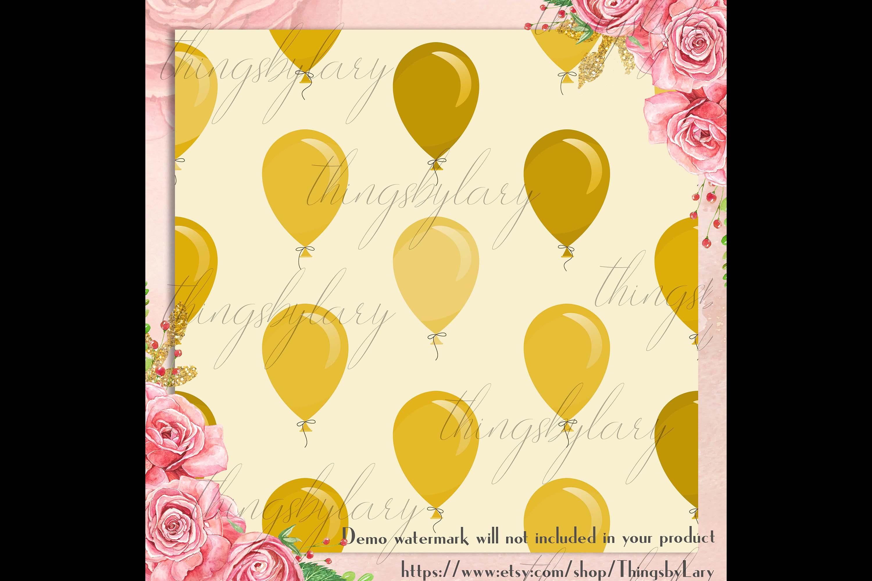 100 Seamless Balloon Pattern Kid Birthday Digital Papers example image 4