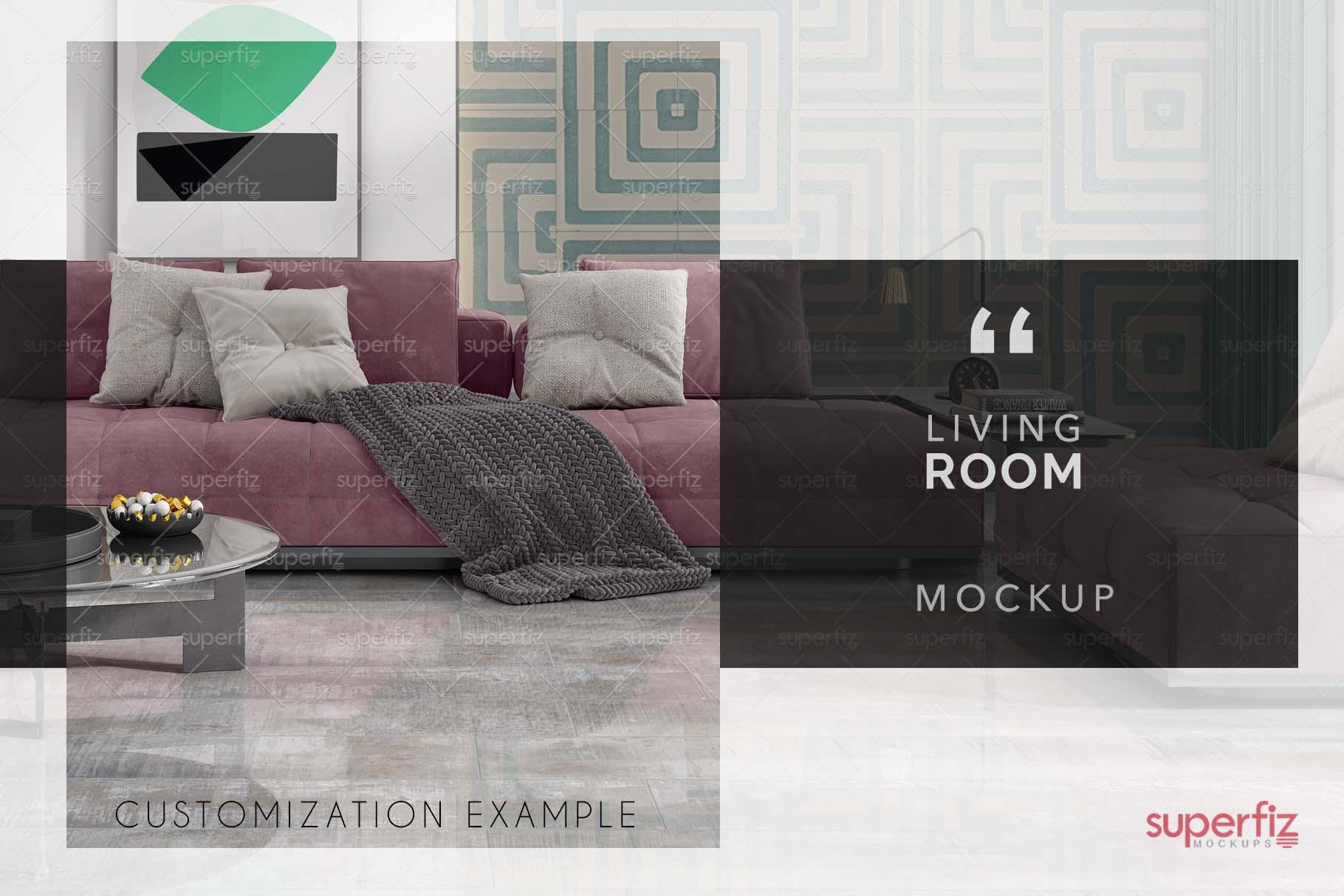 Blank Floor and Wall PSD Mockup Livingroom SM75 example image 6