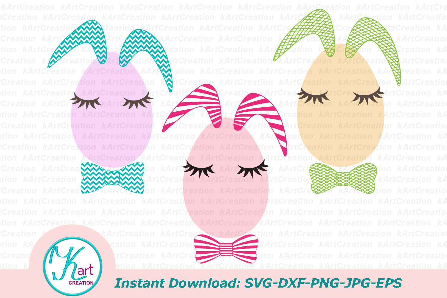 Bunny Ears Eggs Face Bundle Svg Dxf Toddler Oneness Cut File