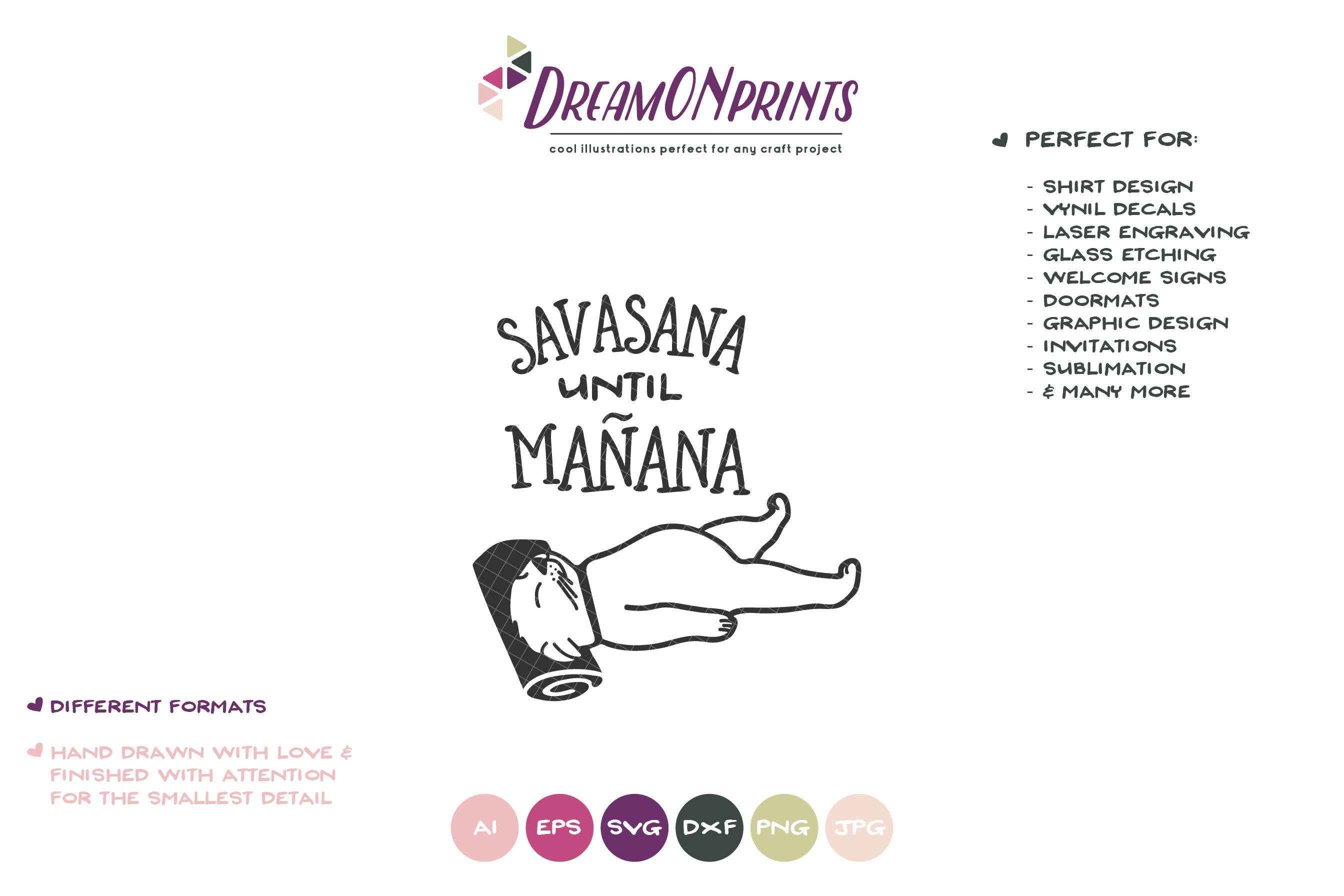 Sleeping Cat SVG | Yoga Cat SVG | Savasana Until Manana example image 2