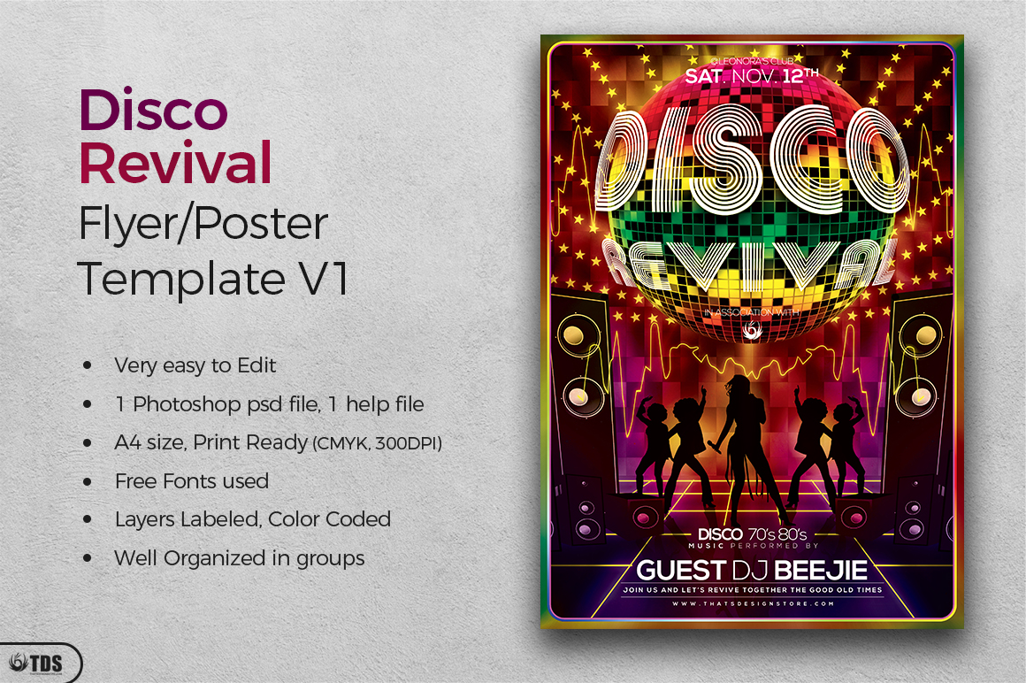 Disco Revival Flyer Template V1 example image 2
